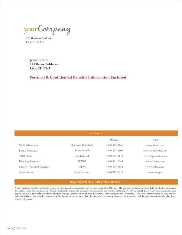 Total compensation statement samples for Compensation summary template